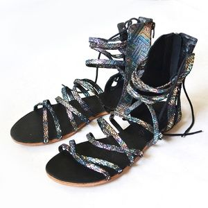 Free People Iridescent Black Juliette Sandals